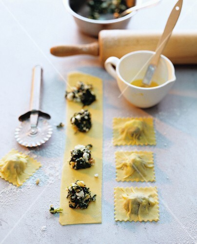 Home-made ravioli with spinach filling