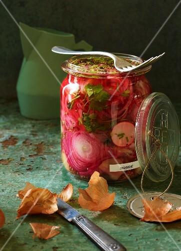 Zwiebeln und Schalotten mit Radieschen in Honig-Gewürz-Essig