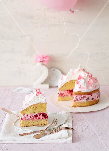 Raspberry and meringue layer cake for a birthday