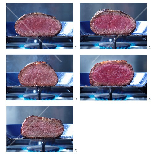 Beef steak, cooked to different degrees