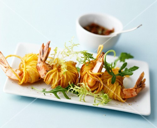 King prawns deep-fried in vermicelli