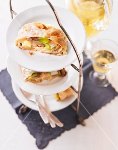 Apple and leek strudel with oyster mushrooms