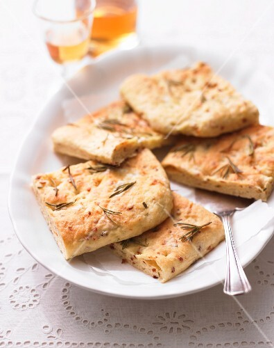 Butterkuchen (German flatbread) with bacon and rosemary