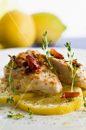 roasted lemon chicken with herbs and chilli