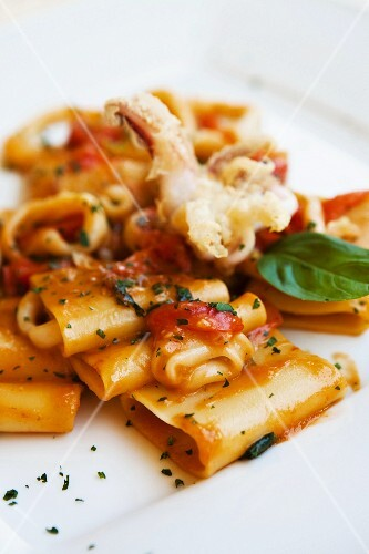 Paccheri pasta with tomato, basil and fish, Italy, Europe