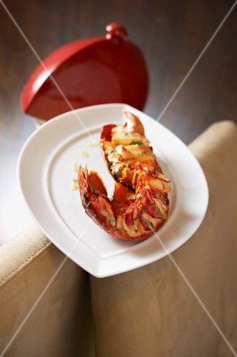 Smoked lobster with lime and herb butter
