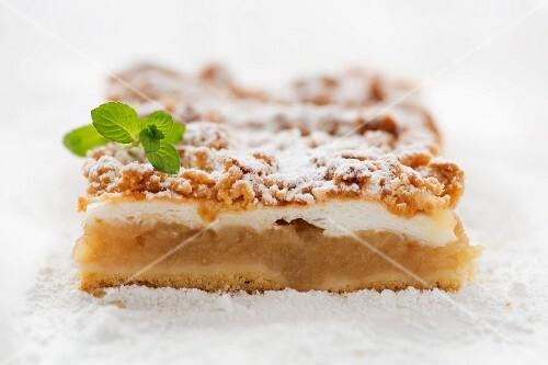 Stück Apfelkuchen mit Streusel