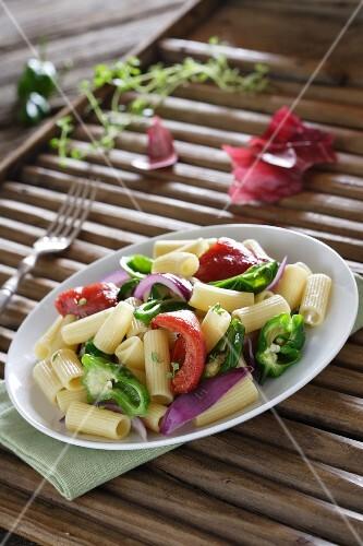 Macaroni with sautéed vegetables