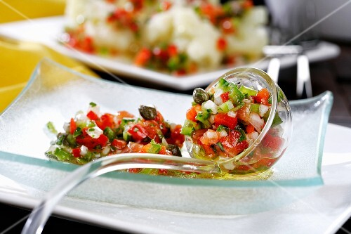 Vegetable vinaigrette with tomatoes, peppers, capers and chillies