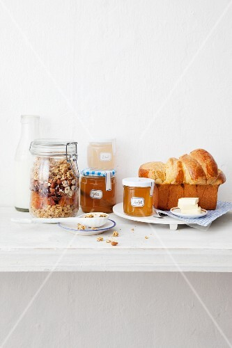 Brioche, butter, jam and cereals