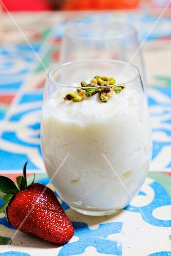 Rice pudding with pistachios (dessert from Egypt)