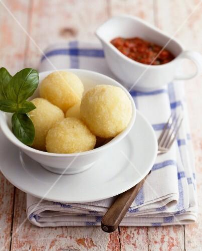 Potato dumplings in a small bowl