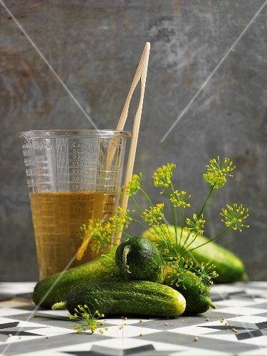 Fresh pickling cucumbers with dill flowers and a measuring jug with vinegar