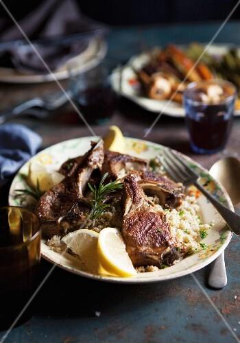 Lamb chops on couscous