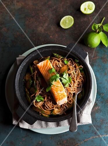 Salmon fillet on soba noodles