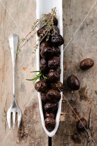 Black olives from Nyons, France, with thyme and rosemary