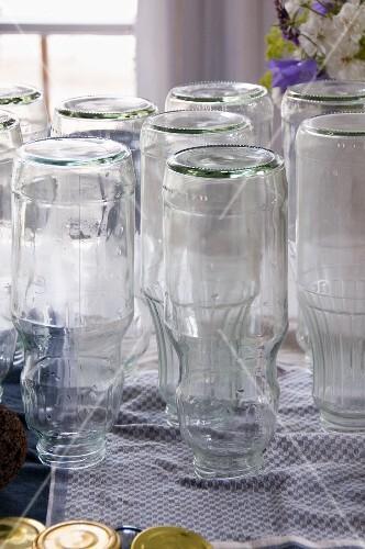 Sterilised bottles for elderflower cordial