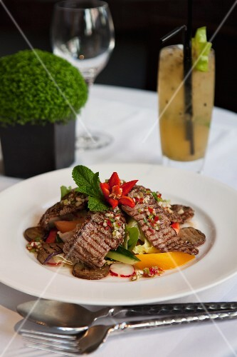 Grilled Thai Beef Salad in a Bowl