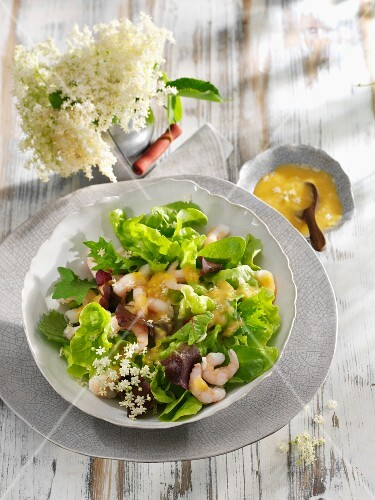 Mixed salad leaves with prawns and elderflowers