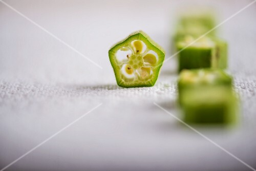 Slices of okra on a paper napkin
