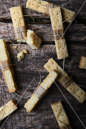 Shortbread on a rustic wooden table