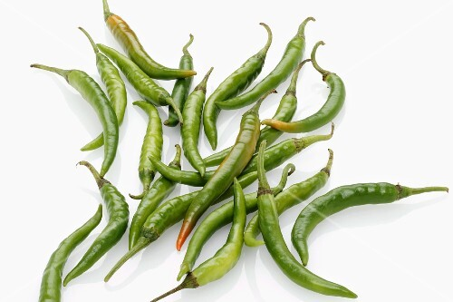 Lots of fresh green chillies