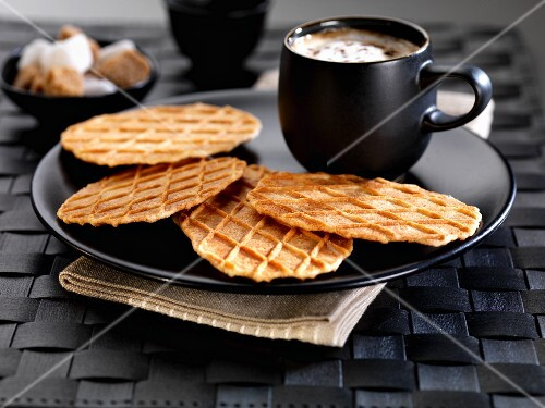 waffle biscuits and coffee