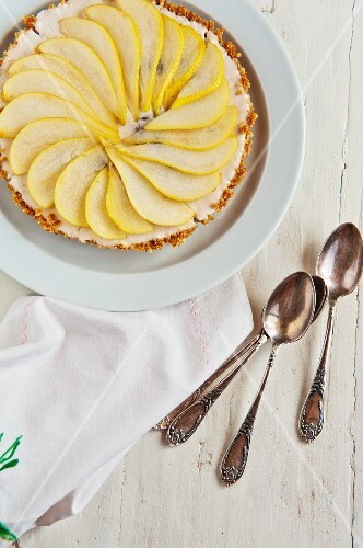 Pear tart, viewed from above