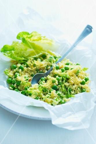 Lemon couscous with peas
