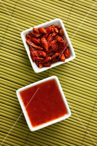 Chilli sauce and dried chillies