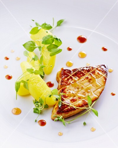 Fried goose liver with quince