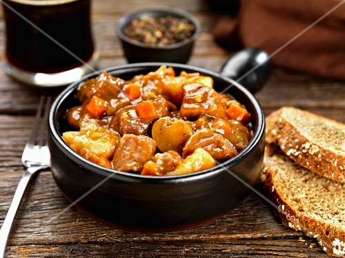Beef stew with carrots and mushrooms