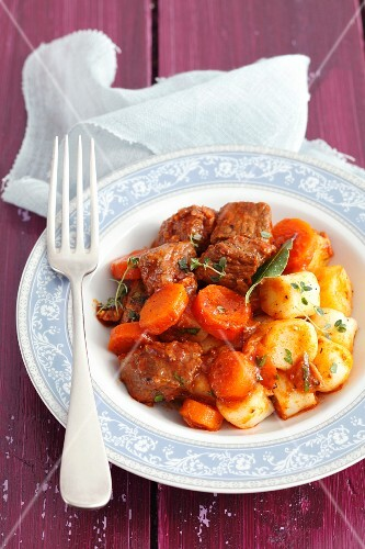 Beef cooked in ale with potato dumplings