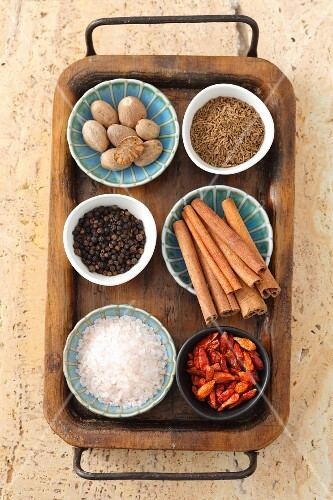 Assorted spices in bowls on a tray