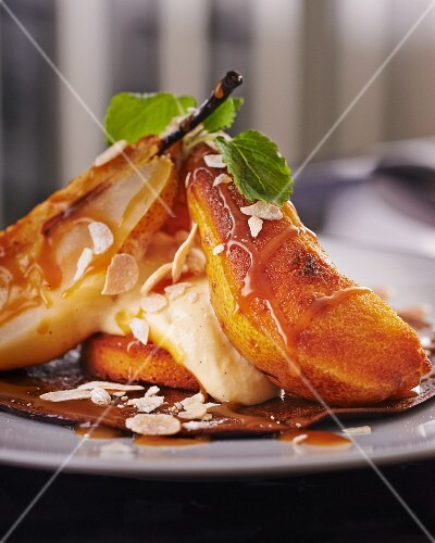 A pancake topped with pears and almond mousse
