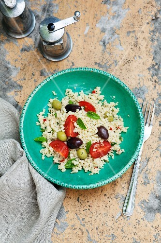 Couscous salad with olives, tomatoes and peppermint
