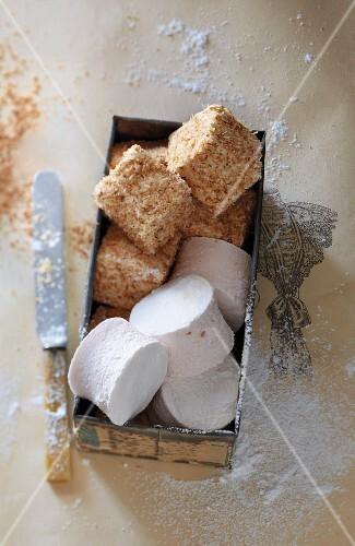 Marshmallows und Marshmallows im Kokosmantel