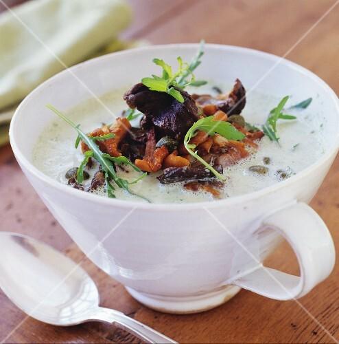 Mushroom soup with rocket
