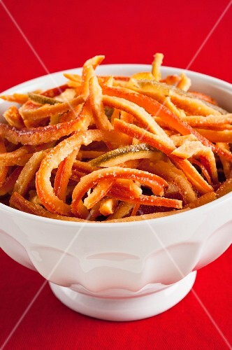 Candied citrus fruit peel in a bowl
