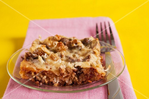 Coconut slice with sultanas and pecans