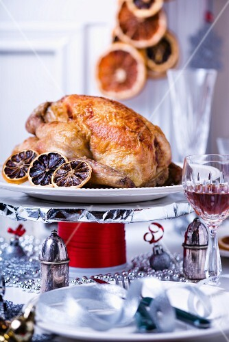Roast chicken with blood oranges for Christmas