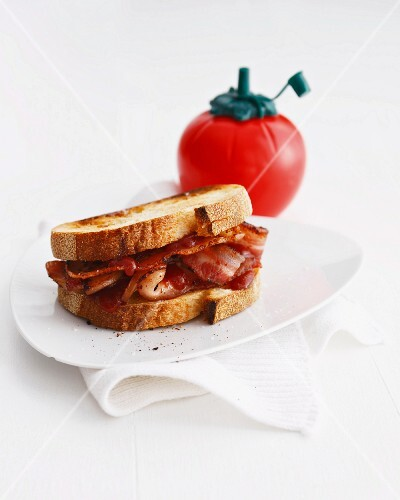 Bacon sandwich with tomato ketchup