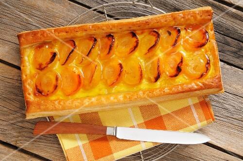 A rectangular apricot tart