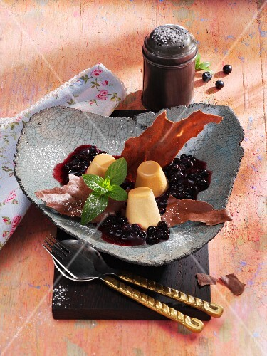 Baileys panna cotta with blueberry ragout