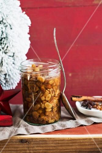 Soaked raisins for Christmas