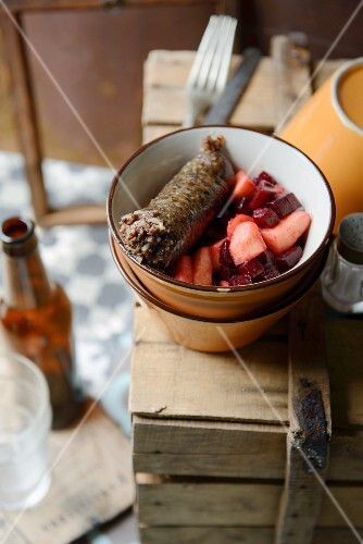 Black pudding with apple and beetroot