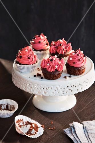 Cherry cupcakes with chocolate balls
