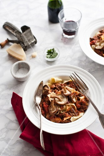 Pappardelle with duck ragout and mushrooms