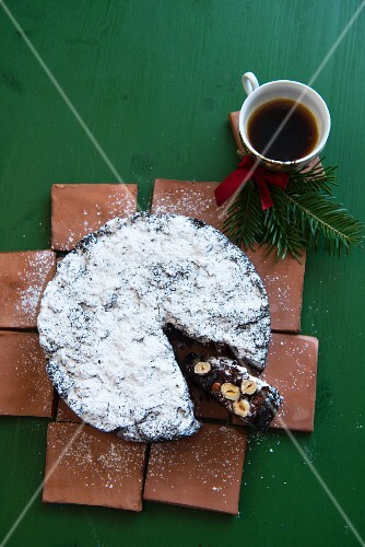Panforte, one slice cut, for Christmas