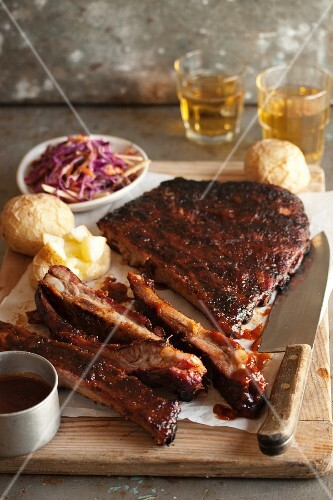 Marinated spare ribs with barbecue sauce and coleslaw
